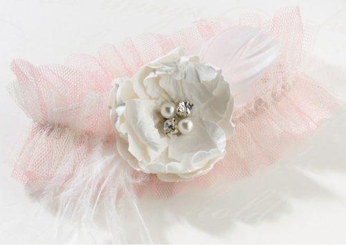 Shabby pink Tulle Garter -0